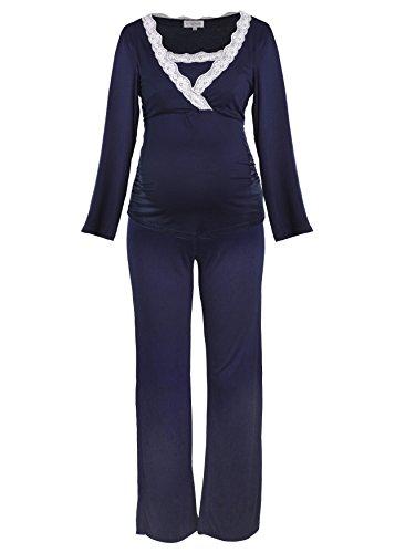 Herzmutter pigiama premaman per pigiama per donne con lacci, pigiami per la gravidanza e allattamento in allattamento, a maniche lunghe, grigio talpa blu scuro (2000) (s, blu notte)
