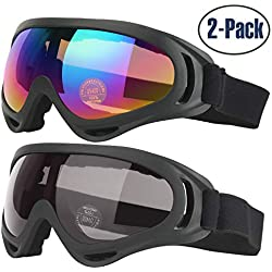 Lunettes de ski, Lot de 2 COOLOO Masques Snowboard de Protection avec UV 400, Ski Goggles Coupe-Vent, Lentilles Antiéblouissant & Anti-poussière pour Enfants, Garçons et Filles, Hommes et Femmes