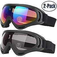 COOLOO Lunettes de Ski, Lot de 2 Masques Snowboard de Protection avec UV 400, Ski Goggles Coupe-Vent, Lentilles Antiéblouissant & Anti-poussière pour Enfants, Garçons et Filles, Hommes et Femmes