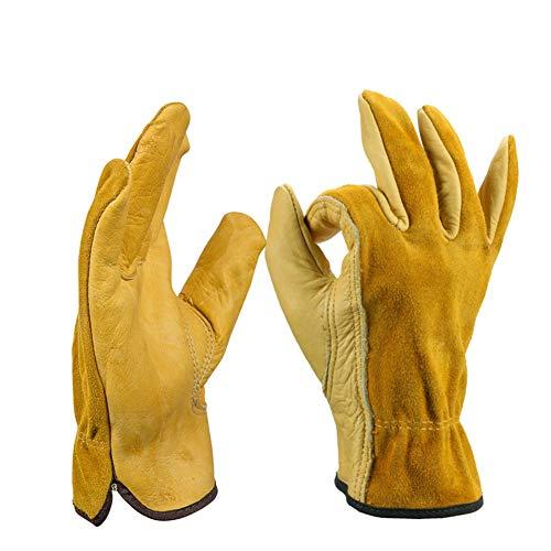 Ziegenleder-treiber Handschuhe (GYFHMY 2 para Leder Arbeitshandschuhe Männer Premium Leder Treiber Schwere Handschuh für Gartenarbeit Schneiden BAU Bauernhof Motorrad mit Elastischen Handgelenk,L)