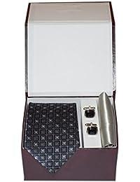 Navaksha Gray Square Design Micro Fiber Necktie,Pocket Square and Cufflinks Gift Set for Men