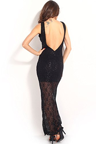 Dissa® femme Noir SY6255 longue Robe Noir