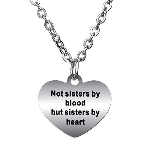 "BESPMOSP Freundschaftshalskette mit Anhänger, englischsprachige Aufschrift ""Not Sisters By Blood But Sisters By Heart"""