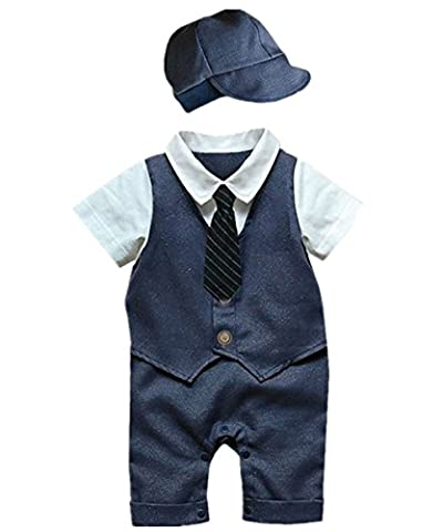 iiniim 2pcs Baby Little Boys Gentleman Bowtie Romper Jumpsuit With Hat Formal Outfit Casual Clothing Navy Blue 9-12