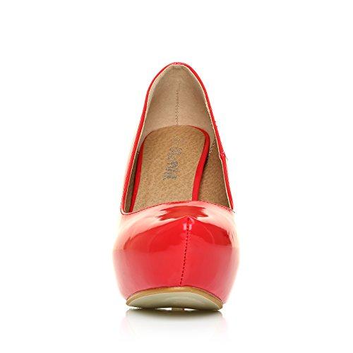 Shuwish Uk - Chaussures Talon Rouge Verni Cuir PU Stiletto Haut Talon Plate-Forme Dissimulé H251 Rouge verni