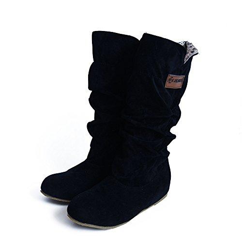 Damen Flach Schuhe SHOBDW Frau Mode Elegant Kniehöhe Stiefel fläche Ferse Nubuck Motorrad Boot Herbst Winter Warme Künstliche Pelz Schuhe Stoff Einfach und Stilvoll Schneestiefel Lange Röhre Stiefel - Wildleder Warm Schwarze Kniehohe Stiefel