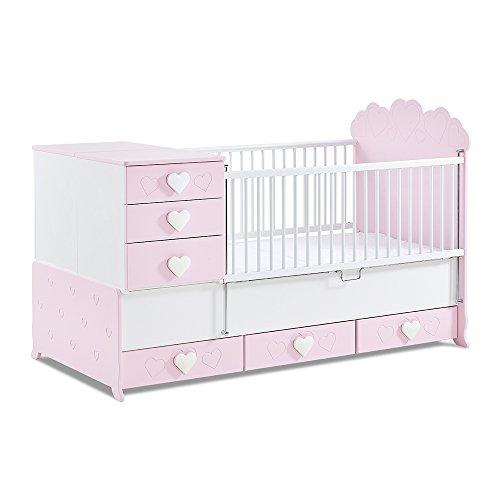 *Babyzimmer, Babymöbel, Kinderzimmermöbel, Kinderzimmer, Möbel, Kombination:Little Princess mitwachsendes Babybett – rosa*