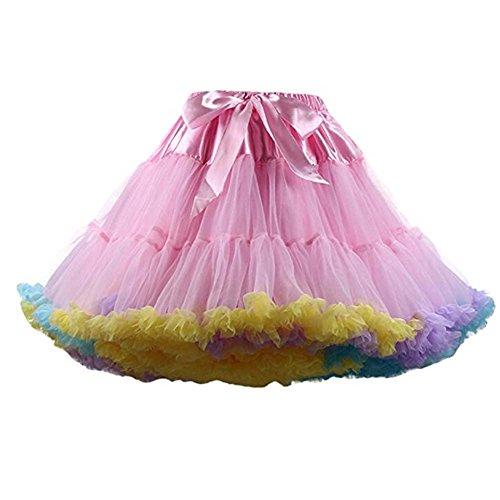 FOLOBE Erwachsene luxuriöse weiche Chiffon Petticoat Tüll Tutu Rock Damen Tutu Kostüm Petticoat Ballett Tanz Rock (Erwachsene Tutus Für Halloween-kostüm)