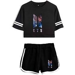 2018 Moda 2 Piezas Conjunto Mujeres Nueva Impresión Coreana BTS Tops Verano Camiseta Corta Mujeres Dos Piezas Set + Short Pants XS-2XL BTS Conjuntos