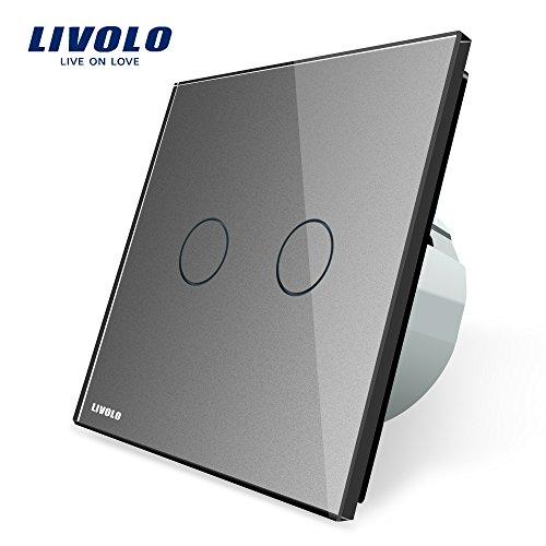 LIVOLO Grau Lichtschalter Empfindliche Touch Steuerung Panel aus Kristallglas mit LED Anzeige Licht Schalter EU Standard 2 Fach 1 Weg,VL-C702-15-A
