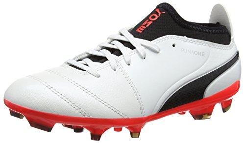 Puma Herren ONE 17.3 AG Fußballschuhe, Weiß (White-Black-Fiery Coral), 39 EU - Cleats Männer Weiße