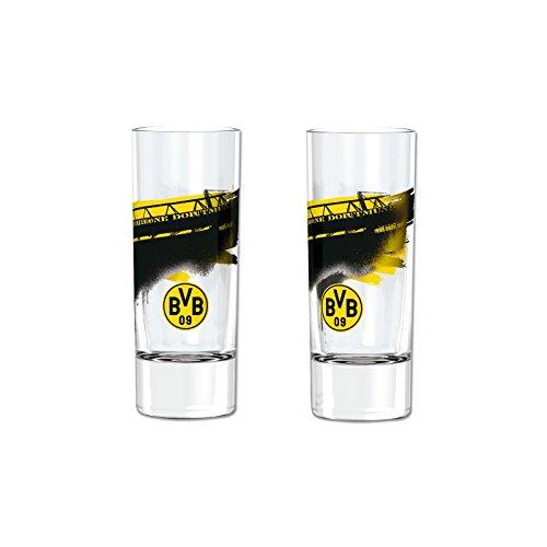 BVB Schnapsglas Südtribüne, Glas, Schwarz / Gelb, 6 x 6 x 6 cm, 2-Einheiten