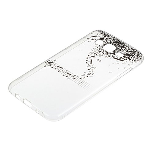 JAWSEU Coque Etui pour Samsung Galaxy J5,Samsung Galaxy J5 Coque en Silicone Transparent,Samsung Galaxy J5 Silicone Coque Cristal Clair Etui Housse,Samsung Galaxy J5 Soft Case Gel Protective Cover,Ult note musicale