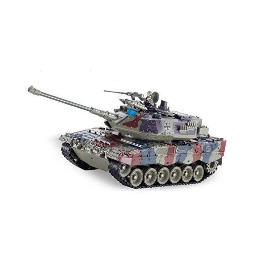 RCTecnic RC Leopard Remote Control Tank 2A6 | Scale 1: 18 | Airsoft + Effects + Smoke + Military Figure | 3 Speeds Radio Control Tank Model