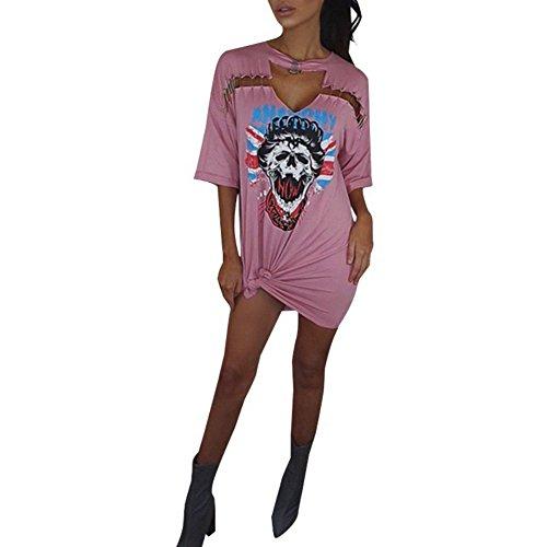 Etosell Femmes D'ete Lettre Imprimee Tour De Cou Neck Short Sleeve T-Shirt Rose