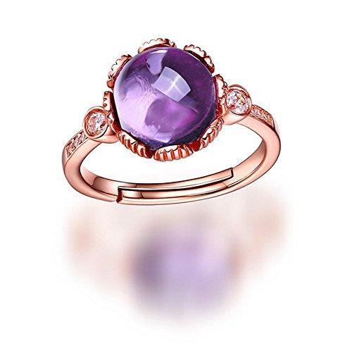 Vormor Anello in argento sterling 925 placcato in oro rosa 18 k, con ametista naturale rotonda, anello aperto - Ametista Promise Ring