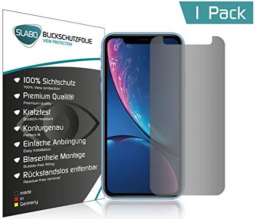 Slabo Blickschutzfolie für iPhone XR | X R Sichtschutz Bildschirmschutzfolie (verkleinerte Folien, aufgr& der Wölbung) View Protection Schwarz - Privacy Made IN Germany