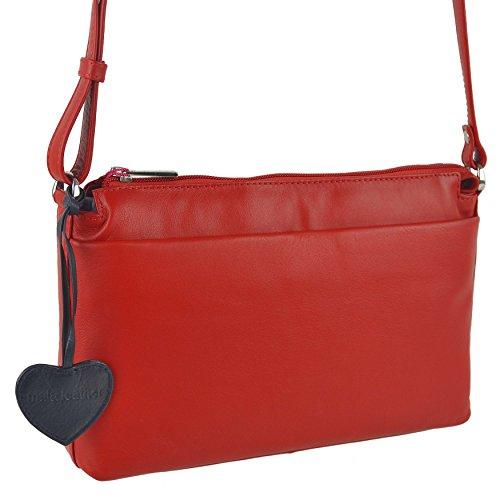 Mala Leather, Borsa a tracolla donna Nero Blu rosso