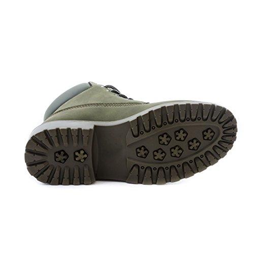 Trendige Unisex Damen Herren Schnür Stiefeletten Stiefel Worker Boots - auch in Übergrößen Grün Chicago
