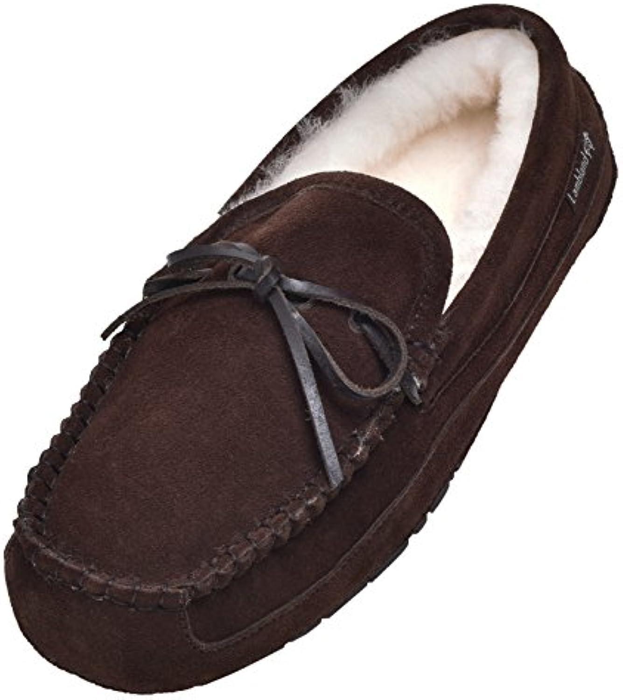 Lambland - Zapatillas de estar por casa de Piel para hombre marrón marrón 45 EU