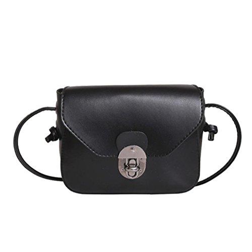 Jamicy Delle ragazze delle donne borsa di cuoio casuale borsa Crossbody Borsa a tracolla Nero