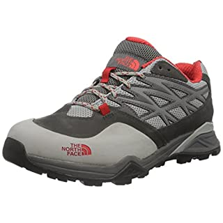 THE NORTH FACE Women's Hedgehog Goretex Low Rise Hiking Shoes, (Dark Gull Grey/Tomato Red Apn), 3.5 UK