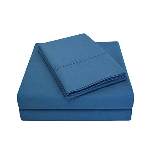 Superior - Set di lenzuola 183 x 213 cm, a 300 fili, con tasche profonde, percalle di cotone, blu marino, 4 pezzi