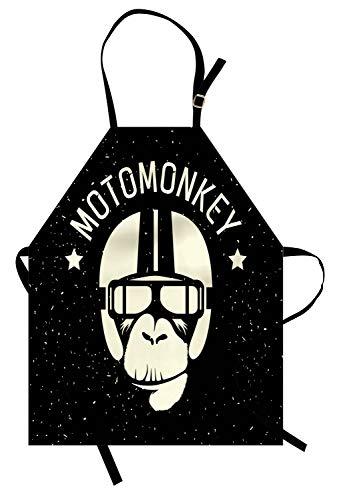 ABAKUHAUS Weltraum Kochschürze, Zeichen Alien Monkey mit Astronaut Kostüm in Einer Galaxie mit Sternen Poster, Farbfest Höhenverstellbar Waschbar Klarer Digitaldruck, Weiß und Schwarz