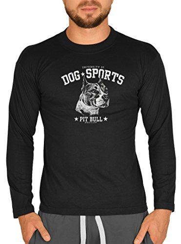 Dog Sports Hunderassen Motiv Longsleeve : Pit Bull -- Herren Langarmshirt / schwarz Schwarz