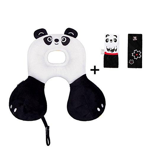 Bébé Animal Tête Oreiller Cou, Tête de Cou Soutien Voiture Siège Oreiller Oreiller avec Mignon Couverture De Ceinture de Sécurité pour 0-12 Mois Bébé (panda)
