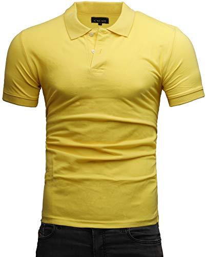 Crone Paul Herren Polo Shirt Pique Slim Fit Kurzarm Polohemd (XL, Gelb) -