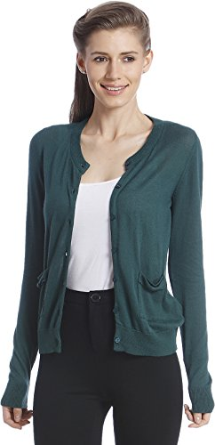 Only Women's Green Colored Casual Cardigan