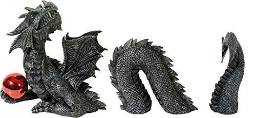 Großer 3 teiliger Drache mit Kugel Dragon Figur Gartenfigur