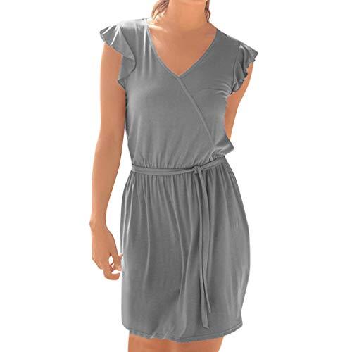 Sonojie Women Bohe Solid Sommergürtel Ärmellos V-Ausschnitt Beiläufiges Minikleid Sommerkleid