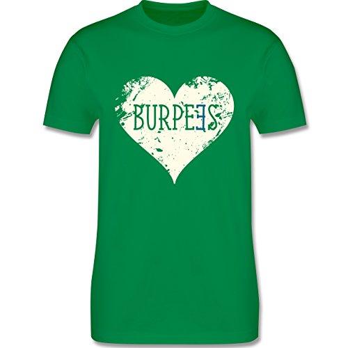 CrossFit & Workout - Burpees Herz - Herren Premium T-Shirt Grün
