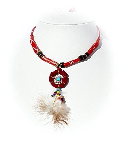 Hejoka-Shop Indianer Halsschmuck Traumfänger Kette ROT Bone echte Knochenröhrchen gefärbte Federn Natur Dreamcatcher Schmuck Halskette mit verstellbarem Ban