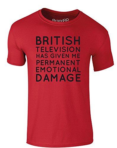 Brand88 - Permanent Emotional Damage, Erwachsene Gedrucktes T-Shirt Rote/Schwarz