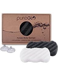 Konjac éponge - pureGLO Corps Libre éponges Lavage de Nettoyage Naturels et Chimiques - Eco-friendly Douche éponge pour Bébé et Adultes tous les Types de peau