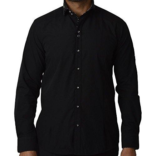 Guide London Homme Polka Dot Collar Longsleeved Shirt, Noir Noir