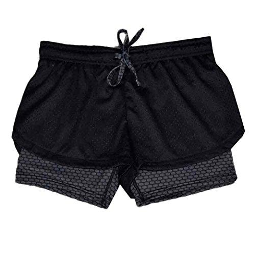 Nuevo!! Pantalones Cortos De Correr 2 En 1 para Mujer Pantalones De Entrenamiento De Malla Transpirable (M, Gris)