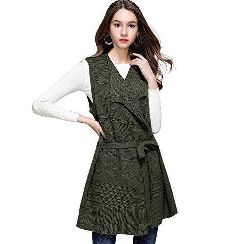 NiSeng Donna Senza Maniche Cardigan Casual Risvolto Gilet Sweatercoat Moda Gilet Lungo Esercito