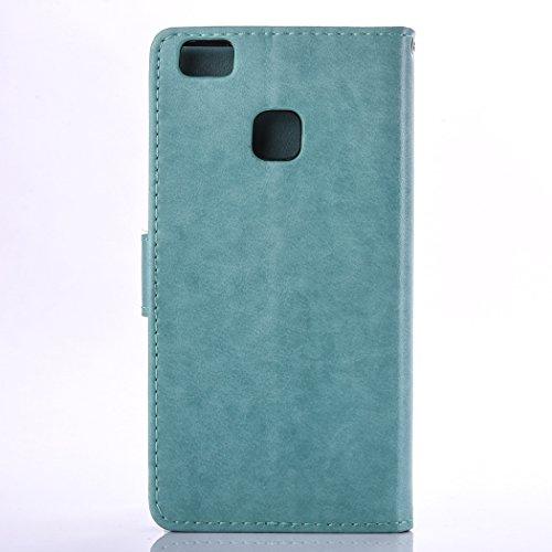 Custodia per Huawei P9 Lite, ISAKEN Flip Cover per Huawei P9 Lite con Strap, Elegante Bookstyle Contrasto Collare PU Pelle Case Cover Protettiva Flip Portafoglio Custodia Protezione Caso con Supporto  Verde