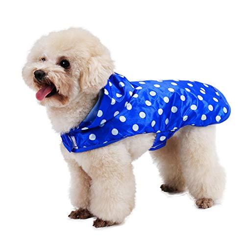 GCSEY Speedy Pet Dog Regenmantel Kapuze Regenjacke, Hund Entzückende Punkte Muster Regen Poncho Mantel Im Freien wasserdichte Kleidung Kleidung mit Tragbaren Packsäcken,Blue,XL
