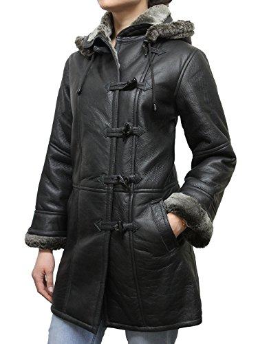 Frauen Schwarz Smart Winter warme Echtlammfell Leder Duffel Coat mit abnehmbarer Kapuze (Medium 10)