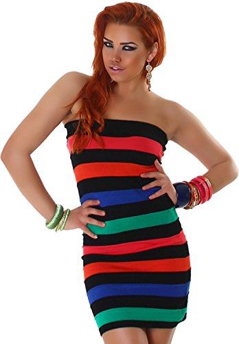 Signore Bandeau Dress Longshirt Camicia Longtop maglia a strisce Minidress 36,38,40,42 - vari colori Nero