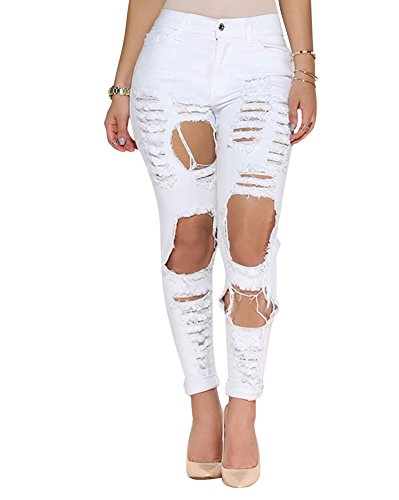 Jeans Mujeres Rotos Denim Vaqueros Pantalones Skinny Flacos S5q75
