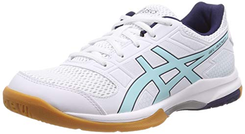 Asics Gel-Rocket 8, Zapatos de Voleibol para Mujer, Blanco (White/Icy Morning 115), 37.5 EU