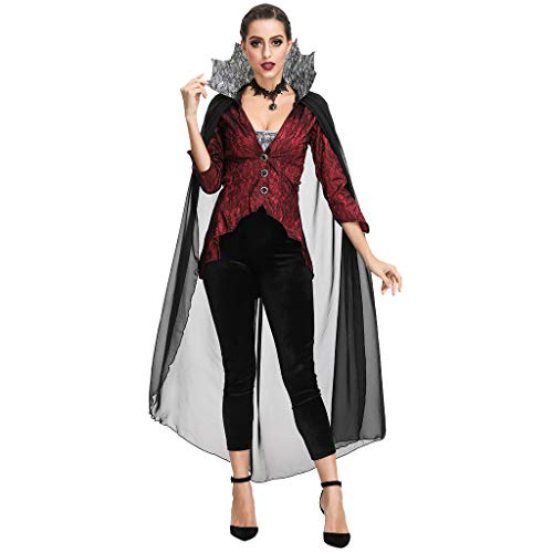 Amphia - Gothic Kleid,Damen Gothic Mittelalter Kleid Gewand Bluse Mieder Rock Schankmaid,Damen die Königin der Earl es Stage Kostüm Halloween Kleidung Gericht Anzug - Gothic Rock Star Kostüm