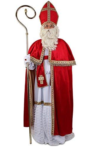 Kleidung zum Feiern Edeles Nikolauskostüm weißer Habit, samtiger Umhang, Mitra/Hut, Stola & Kordel | Sankt-Nikolaus Kostuem Set | Bischofs-Kostüm