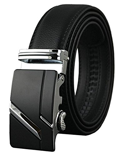 Xpassion Cinturón de Cuero para Hombre Cinturones Hebilla Automática 3,5cm Ancho (130cm, Negro 5)